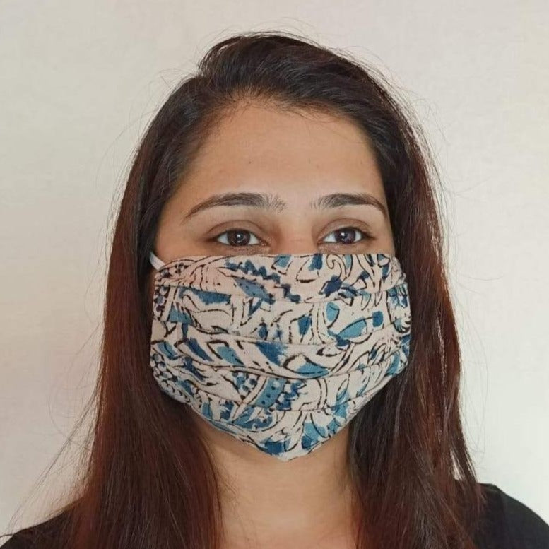 cotton Kalamkari print face mask handsewn in India by the NGO Sewing New Futures.