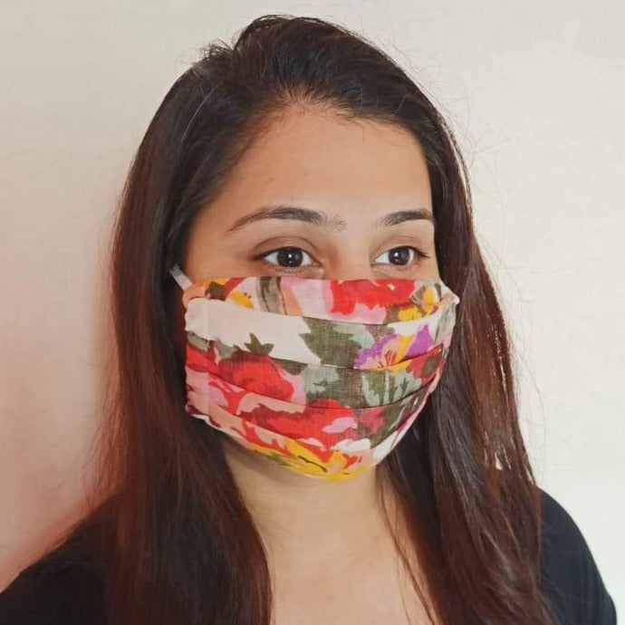 cotton floral print double layer face mask handsewn in india by the NGO Sewing New Futures.