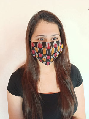 Black Teen Ikat Pleated Double Layer Cloth Mask with Elastic Ear Loops