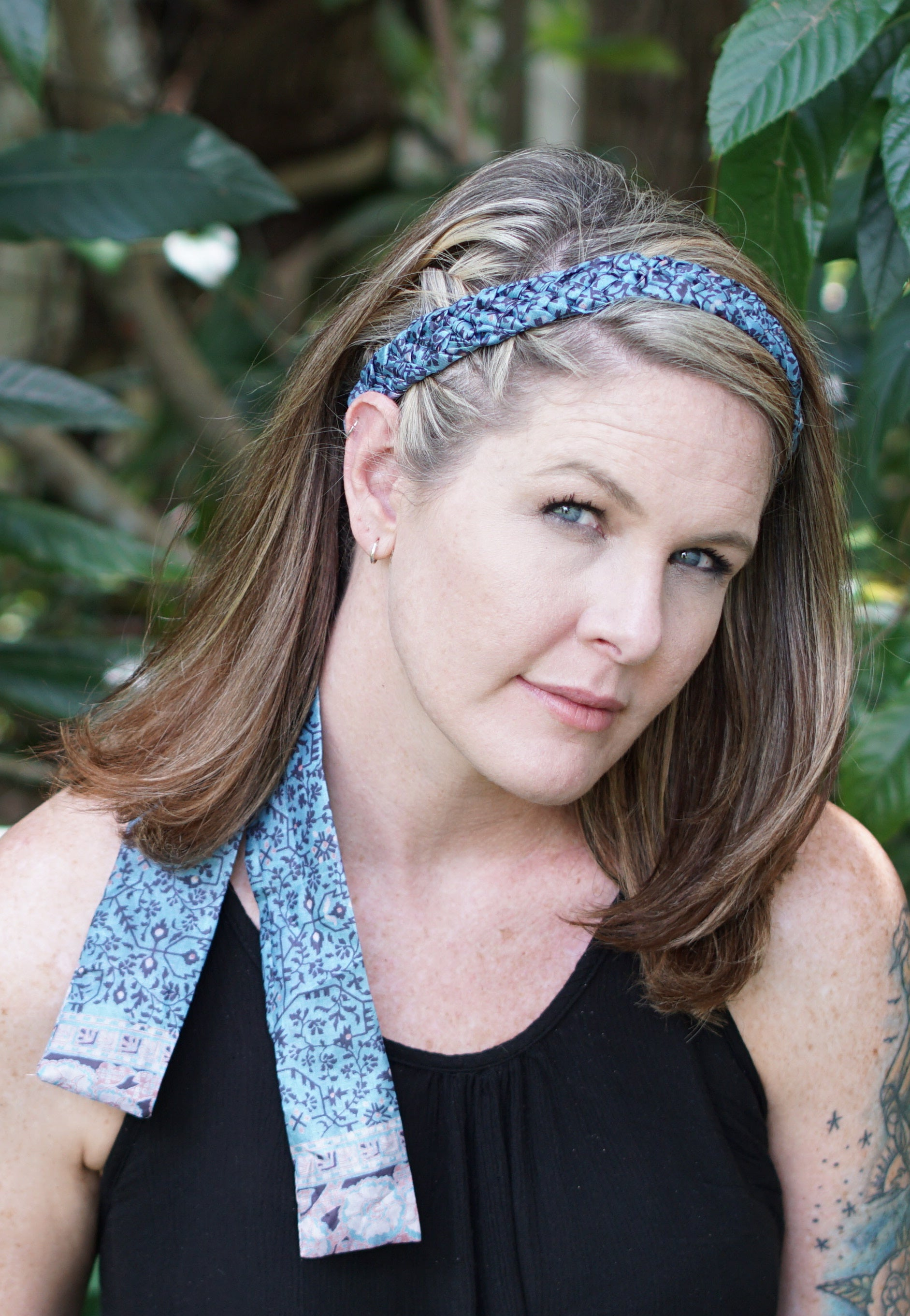pale blue braided headband made from silk sari fabric in India