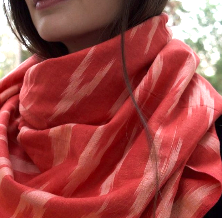 Coral Ikat Square Scarf