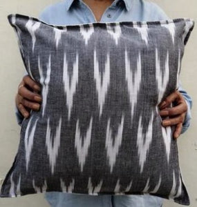 Grey and white ikat cushion cover