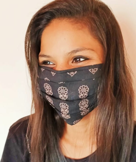 Pleated Single Layer Cloth Mask with Adjustable Tie Straps