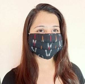 Black Ikat Single Layer Pleated Cloth Mask with Elastic Ear Loops