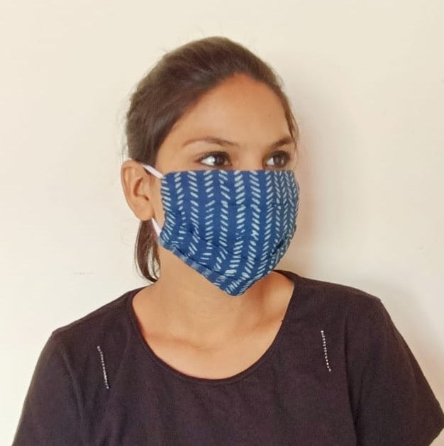 Pleated Single-layer Cloth Mask with Elastic Ear Loops