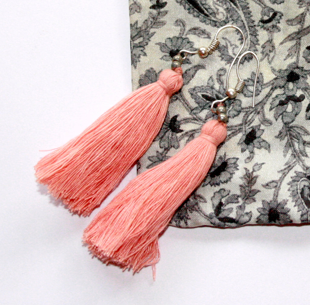 Hand-Made Tassel Earrings Pale Pink
