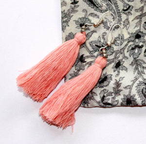 Hand-Made Tassel Earrings Peach-Pink