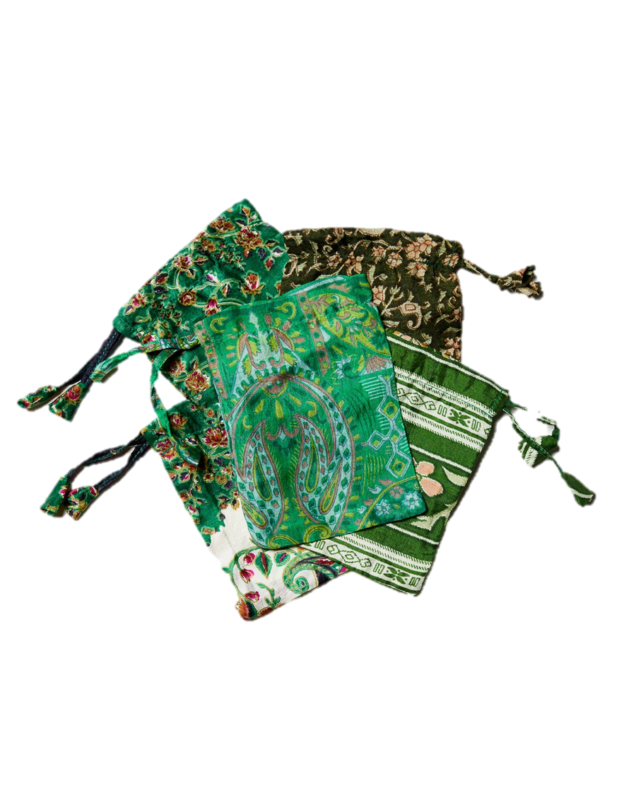 Green Sari Pouches