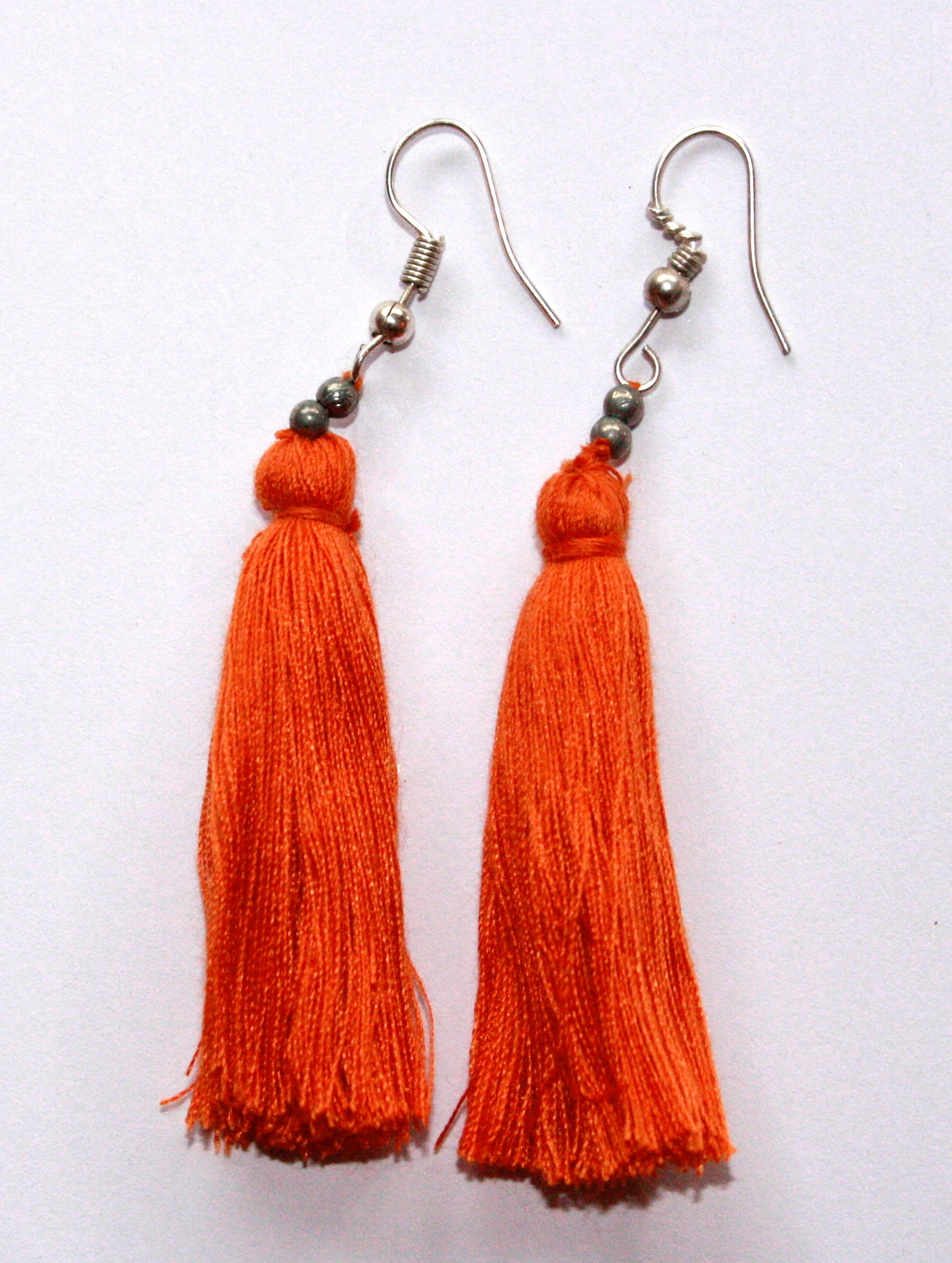 Hand-Made Tassel Earrings Orange