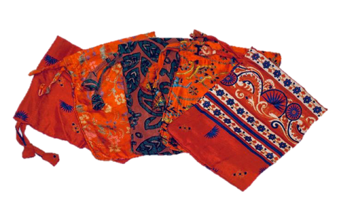 Orange Sari Pouches