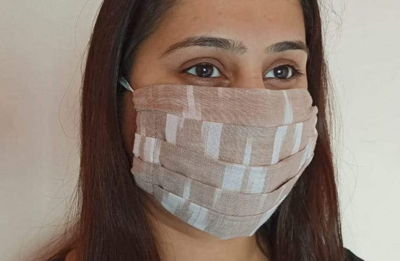 Tan Ikat Pleated Double Layer Cloth Mask with Elastic Ear Loops