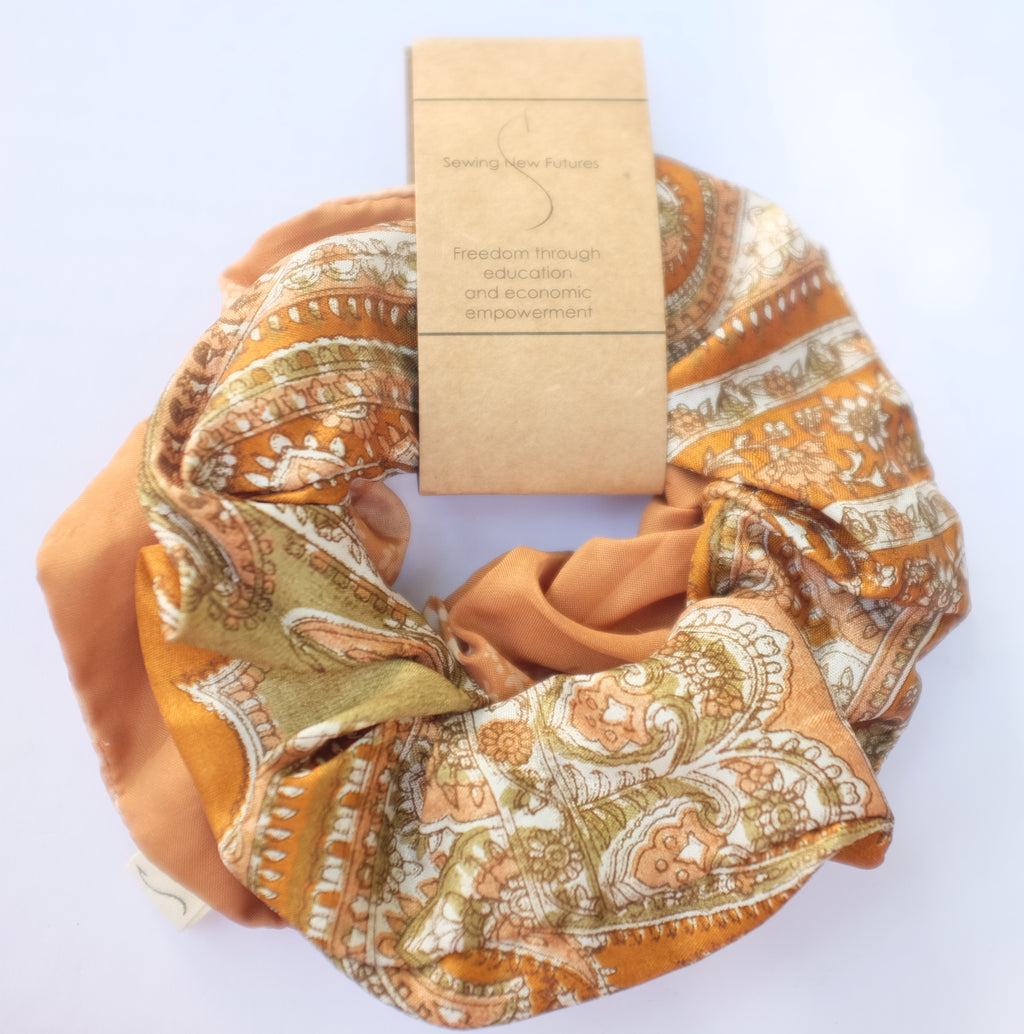 earthtone sari scrunchie set made in India