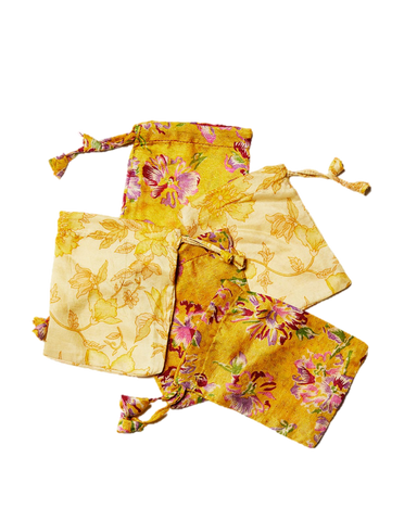 Yellow Sari Pouches