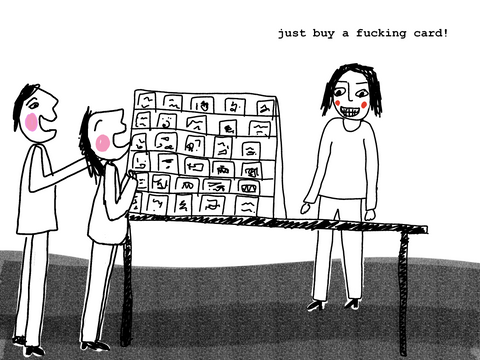 A person saying 'just buy a fucking card' to 2 people who are looking at her craft stall