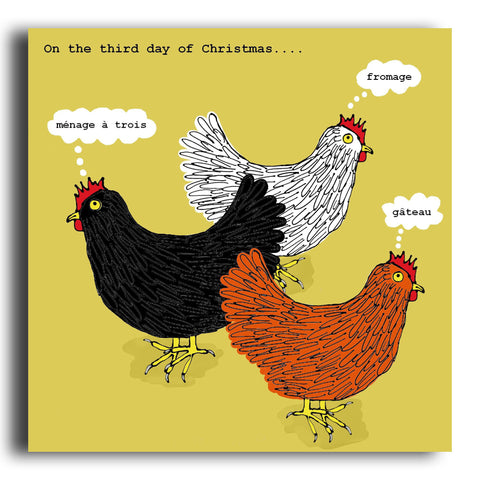 Three French Hens Christmas card (CRC11)