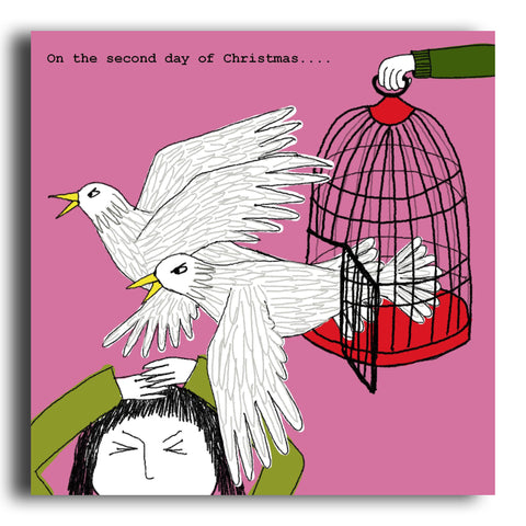 Two Turtle Doves Christmas card (CRC11)