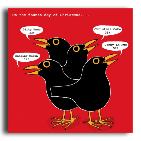 Four Calling Birds Christmas card (CRC12)