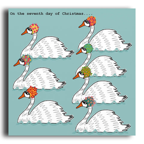 Seven Swans A-Swimming Christmas card (CRC13)