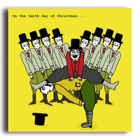 Ten Lords A-Leaping Christmas card (CRC17)