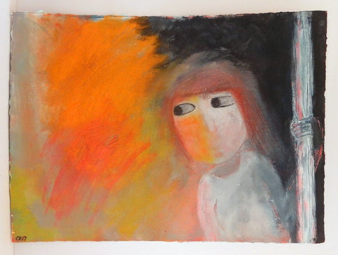 'Incendiary' acrylic painting on paper