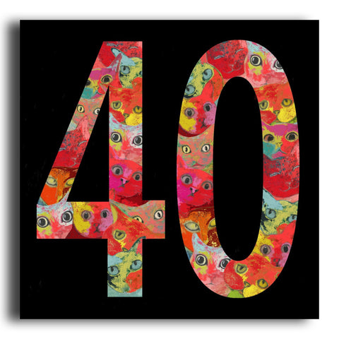 '40' cat birthday card (PK12)