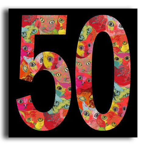 '50' cat birthday card (PK13)