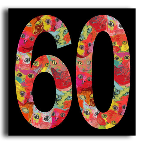 '60' cat birthday card (PK14)
