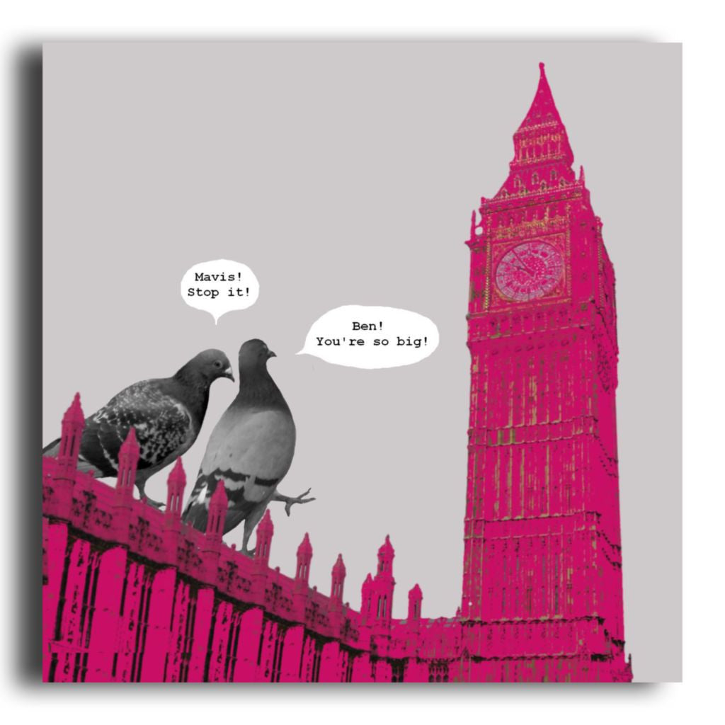 Funny Big Ben London Pigeon Greeting Card Corrina Rothwell