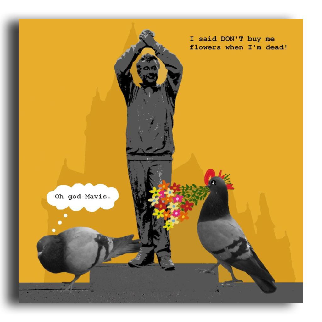 Funny Nottingham Brian Clough Pigeon Tourist Greeting Card Corrina