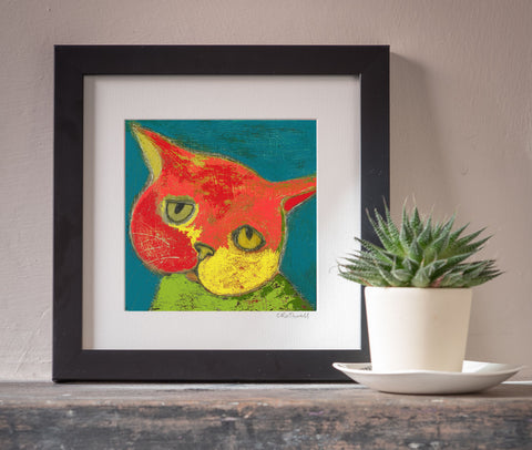 Sad Cat art print