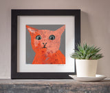Surprised Cat art print