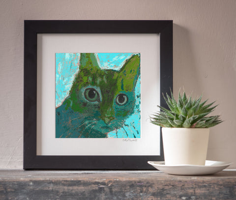 Tentative Cat art print