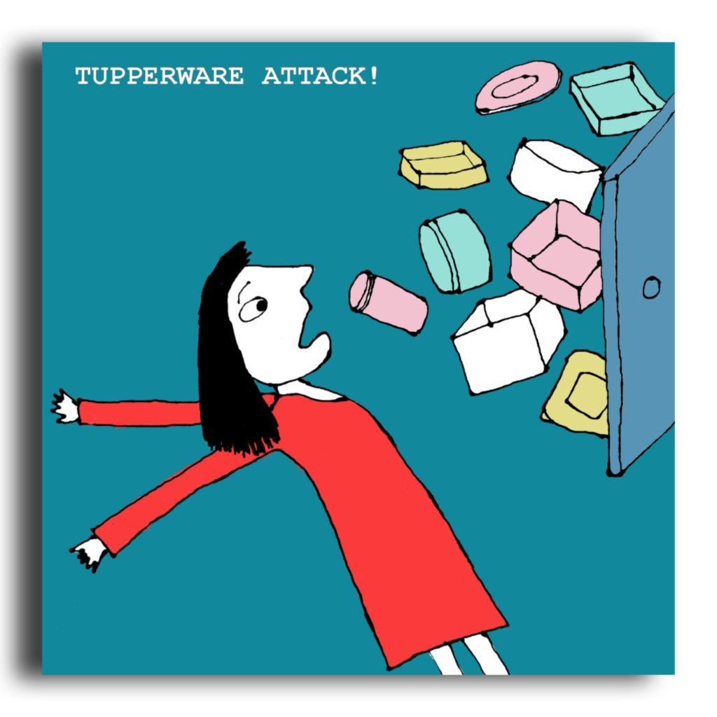 Funny illustrated tupperware greeting card corrina rothwell default title kristyandbryce Image collections