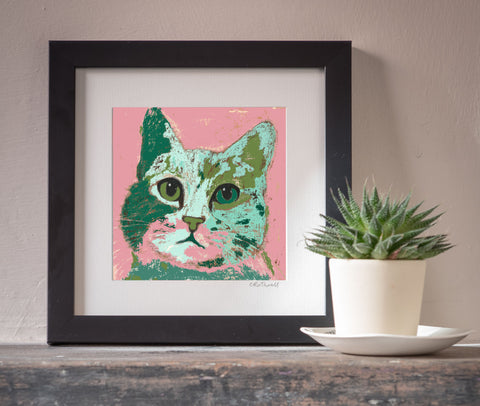 Waiting Cat art print