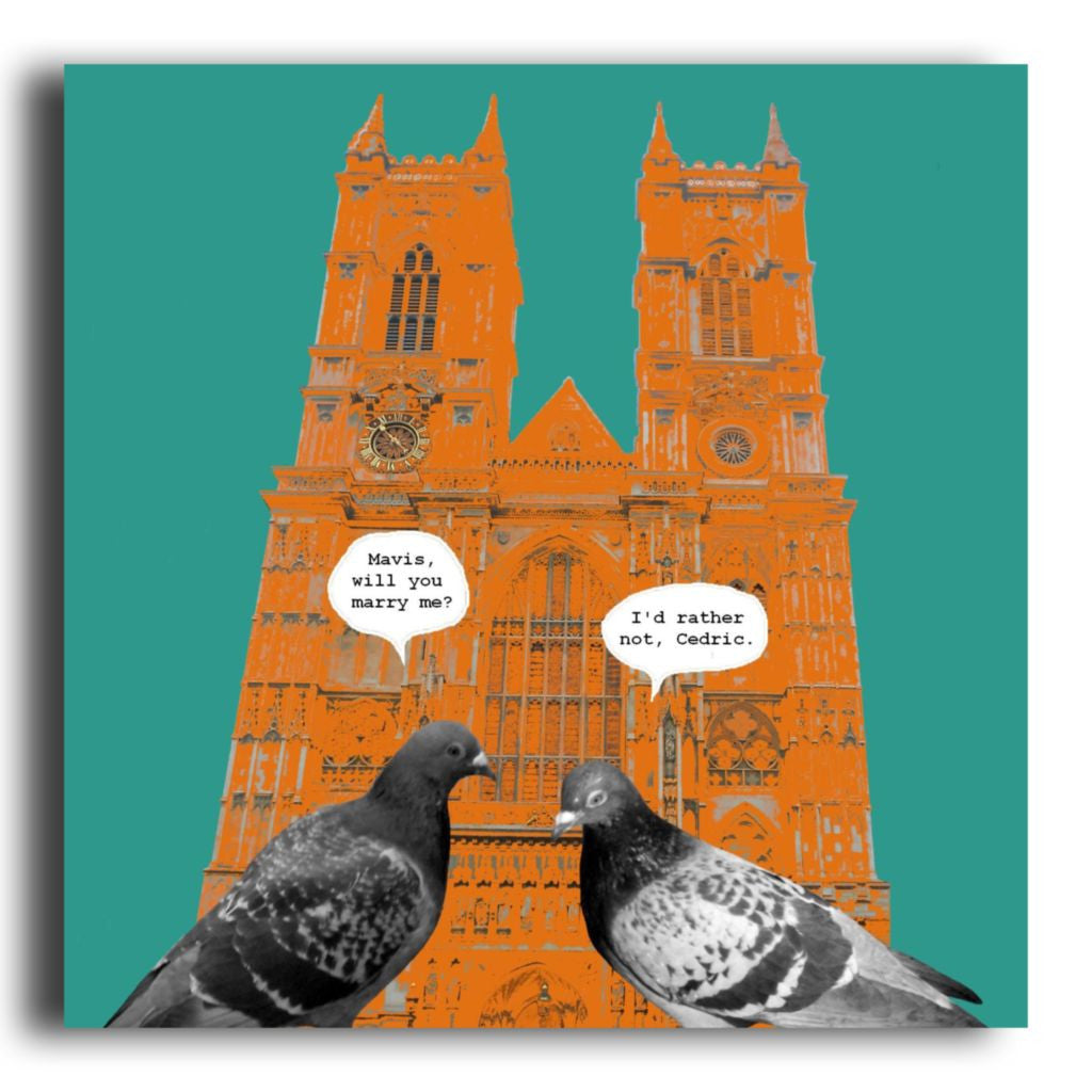Funny London Westminster Abbey Pigeon Greeting Card Corrina Rothwell