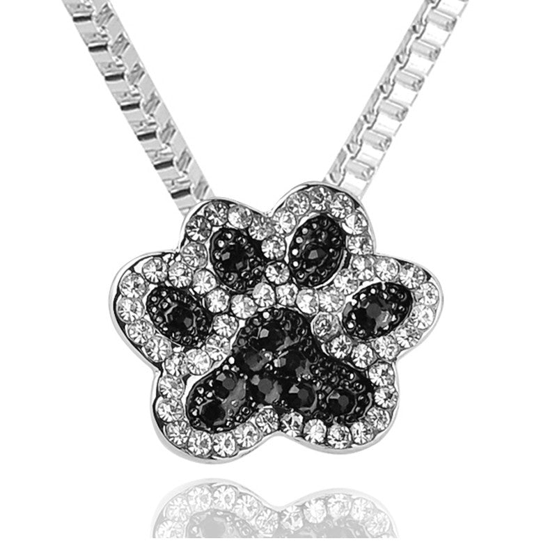 Rhinestone dog paw pendant necklace rocky and lucy rhinestone dog paw pendant necklace aloadofball Image collections