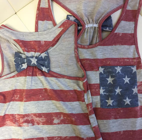 Stars and Stripes Tank with Bow - Mama - Oh, Darlin'