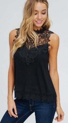 Haleigh Lace Neckline Top - Oh, Darlin'