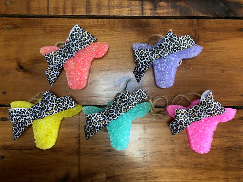 Cow Leopard Bow Beaded Car Scent Freshies - Oh, Darlin'
