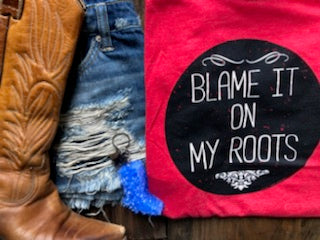 Blame It All On My Roots VNeck Tee - Oh, Darlin'