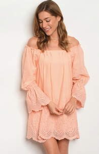Lena Peach Off The Shoulder Dress - Oh, Darlin'
