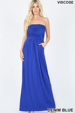 Sutton Strapless Tube Top Maxi Dress with Pockets