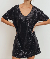 Quin Sequin Shift Dress VNeck - Oh, Darlin'