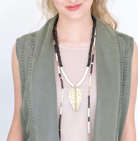New Leaf Layering Necklace Stone + Stick - Oh, Darlin'