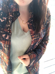 Kaline Distressed Flannel Button Down - Oh, Darlin'