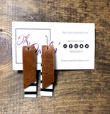 Leather Double Drop Rectangle Earrings - Oh, Darlin'