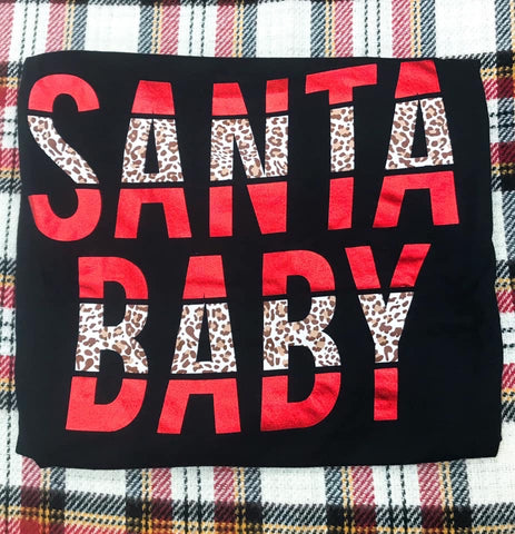 Santa Baby Red Foil Leopard Long Sleeve Tee - Oh, Darlin'
