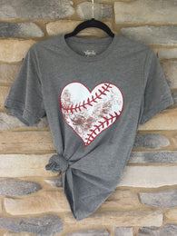 Distressed Baseball Heart Tee - Oh, Darlin'