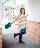Collette Taupe Stripe Knit Sweater - Oh, Darlin'