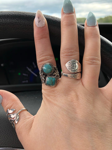 Double Turquoise Floral Detail Sterling Silver Ring - Oh, Darlin'